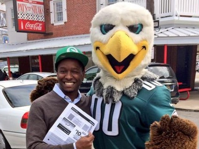 How Does One Guy Keep Winning The Eagles' Free Ticket Giveaway?