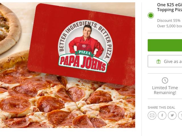 Buy a $25 Papa John's Gift Card, Get Two Large Bonus Pizzas For Free
