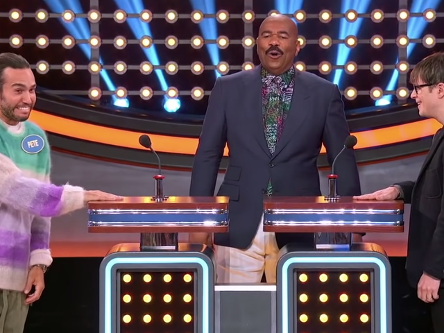 "Weezer and Fall Out Boy competed on Family Feud and Steve Harvey was forced to yell ""poop!"""