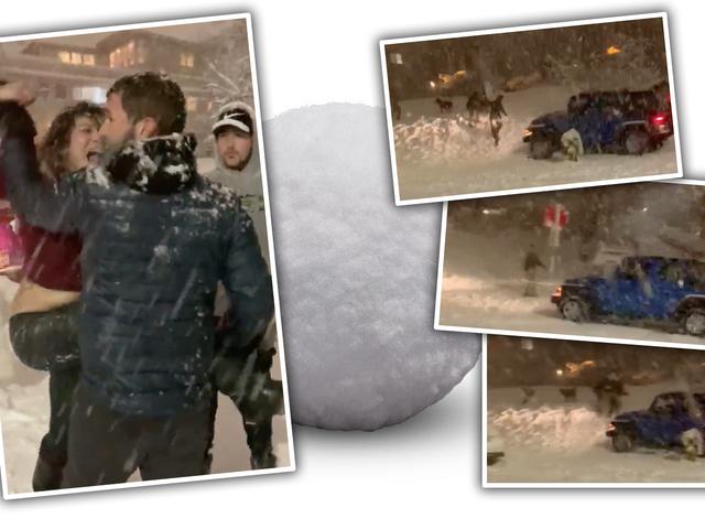 Παρακολουθήστε ένα Road Rage Jeep Driver Παίξτε Batshit και προσπαθήστε να τρέξετε πάνω από τους ανθρώπους που ρίχνουν χιονόμπαλες