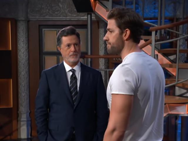 Stephen Colbert and John Krasinski take their comedy guy fight to action guy town