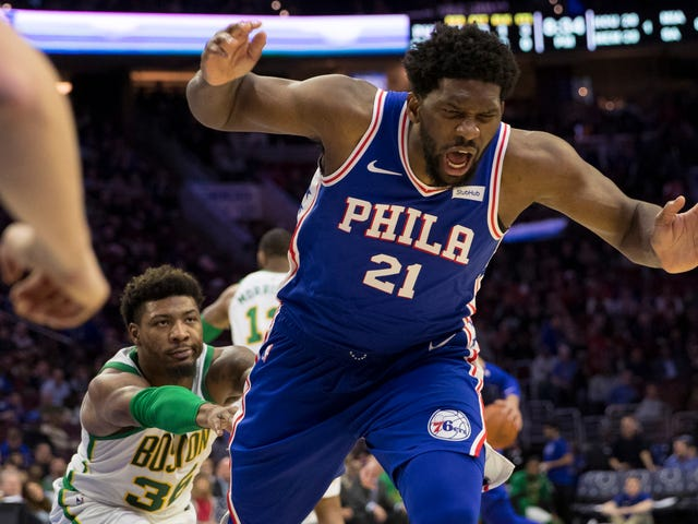I Can't Stop Looking At This Photo Of Marcus Smart Nonchalantly Shoving Joel Embiid