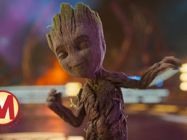 Baby Groot briefly transforms the Galaxy (and the Marvel action machine) into one big dance floor