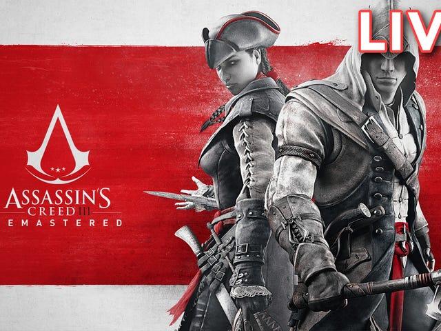 Jeg (Tim Rogers) spiller Assassin's Creed III: Remastered over på vår Twitch-kanal, rett heck