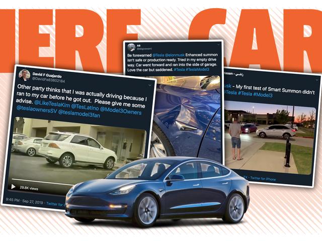 Mennesker, der bruger Teslas nye Smart Summon-funktion kører allerede i problemer, og det er svært at blive chokeret