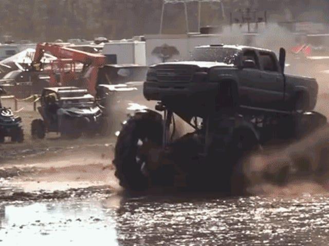 Monster Truck Stoppie Does Not Go Well