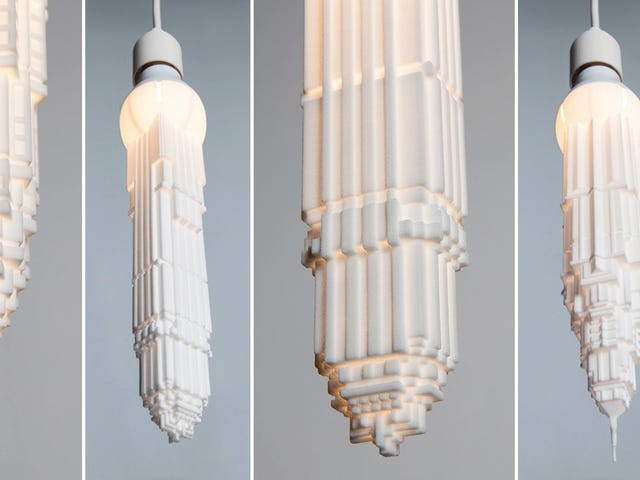 Odwrócone wieżowce powiesić jak świecące stalaktyty z żarówek LED
