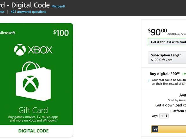 AmazonのXbox Gift Card Saleでゲーム、DLCなどで10%割引