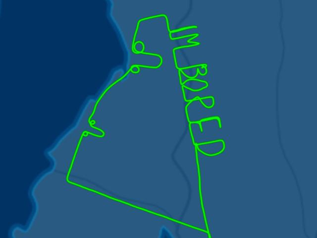 "Un piloto aburrido Escribe ""estoy aburrido"" med en penne og en anden del af Australien"