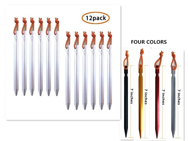 Pack of 12, 7075 Aluminum Outdoors Tent Stakes Pegs $8.49