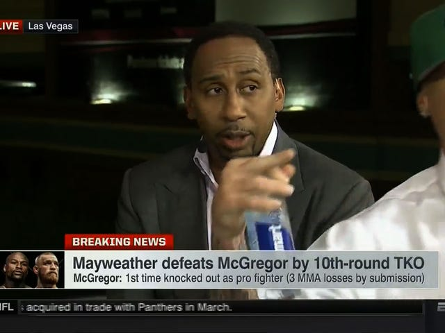 "Guy Jumps μπροστά από τον Stephen A. Smith, ο Γιέλς ""Fuck The Mayweathers"" στο ESPN2"