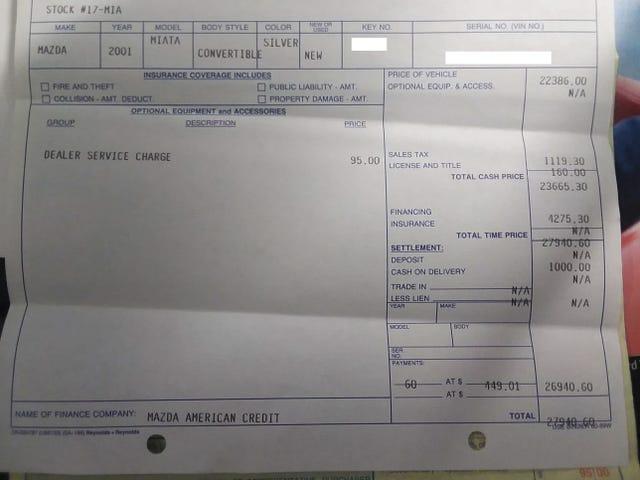 Encontré la factura de compra original para mi Miata