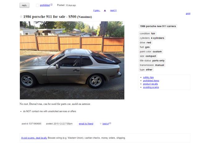 $500 1986 Porsche 911 for parts?