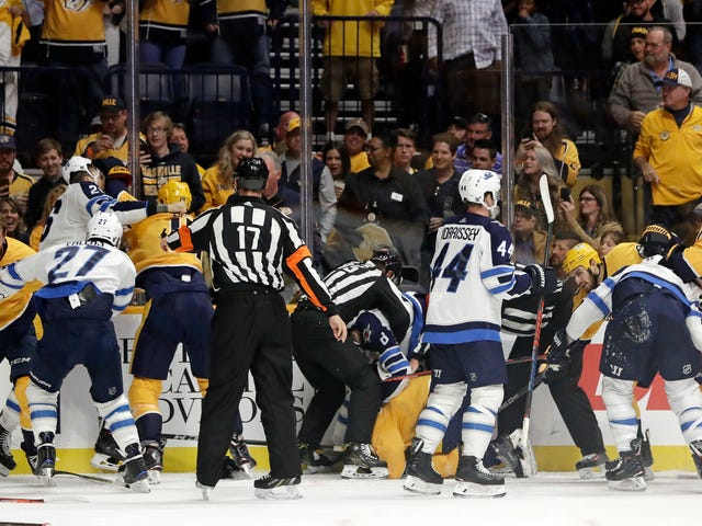 The Jets And Predators Are Brawling
