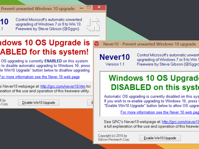 Never10 Prevents Windows 7 and 8.1 from Automatically Upgrading to Windows 10