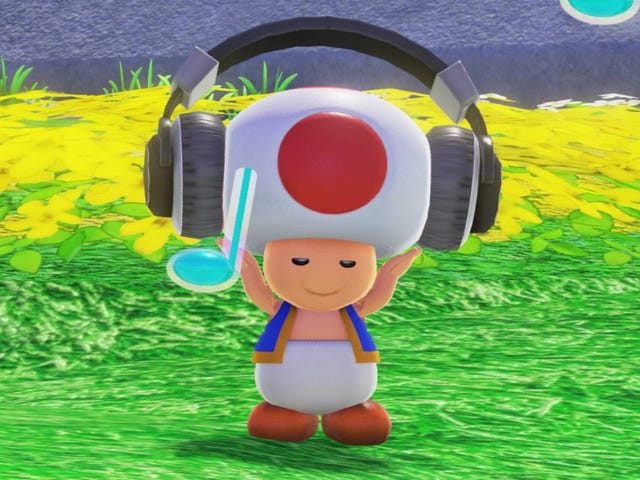 Is Toad wearing a hat?