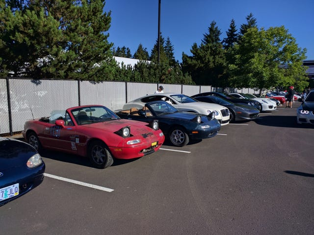 Took the beater Miata to cars and coffee
