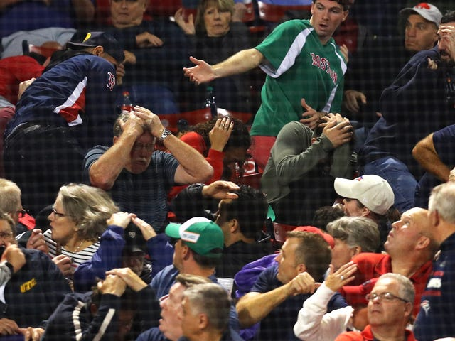 Fan Struck In Forehead By Flying Bat At Red Sox Game, Stretchered Off