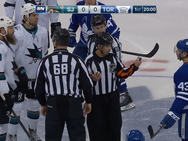 Nazem Kadri And Joe Thornton Get Mad, Get Thrown Out Of Faceoff Circle, Fight
