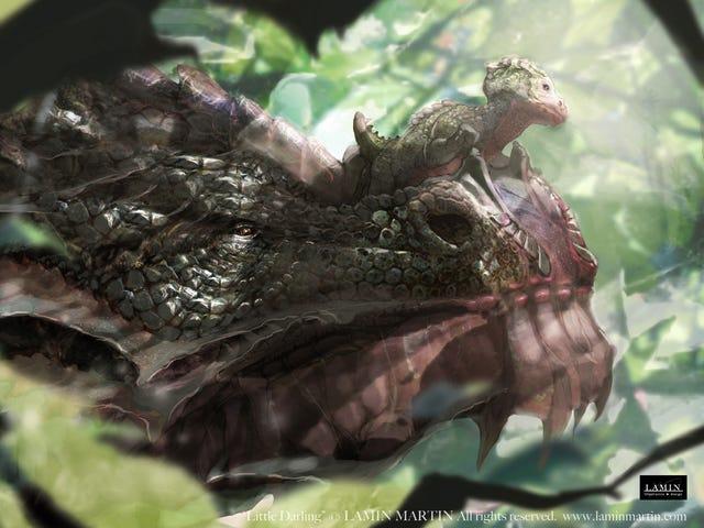 ड्रैगन माँ हमेशा अपने युवा को उसके थूथन के साथ रखती है