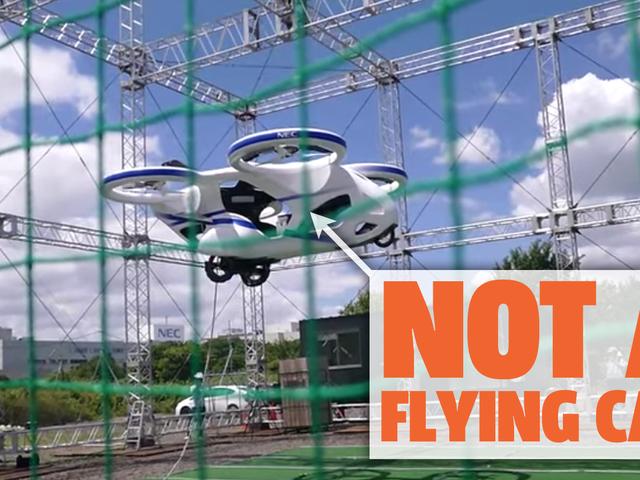 Der japanische Elektronikkonzern NEC demonstriert ein fliegendes Auto, das eigentlich kein fliegendes Auto ist
