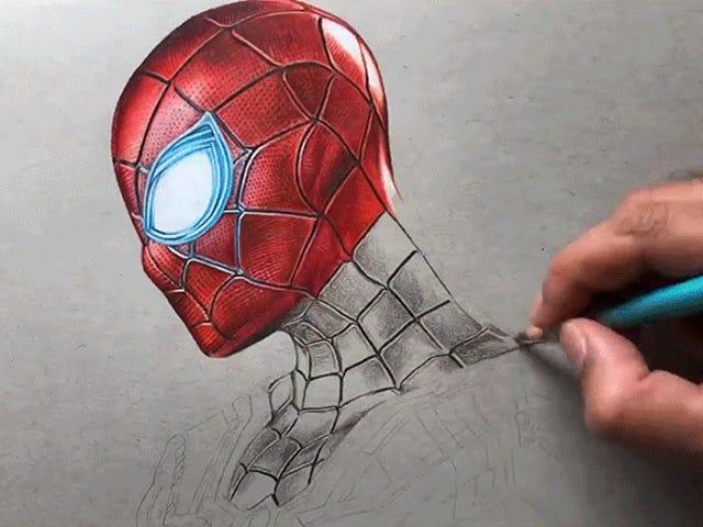 观看此艺术家使用彩色铅笔创建铁蜘蛛照片逼真的肖像