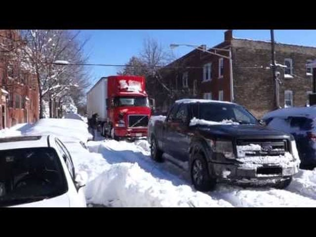 Watch A V6 Ford F-150 Tow A Big Rig Through The Blizzard Chicago