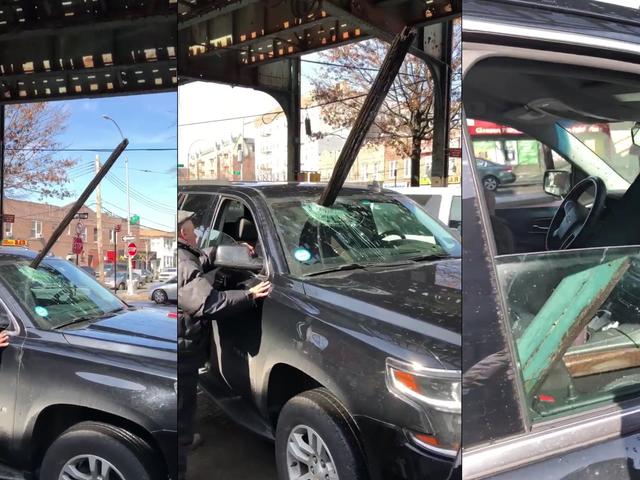Hareketli Arabanın Ön Camı Üzerinden Yükseltilmiş Metro Dev Devri Çöküyor