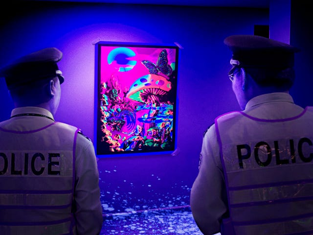 Authorities Say Blacklight Analysis Shows Velvet Poster Of Mushroom Kingdom Looking Even Cooler Than Previously Imagined<em></em>