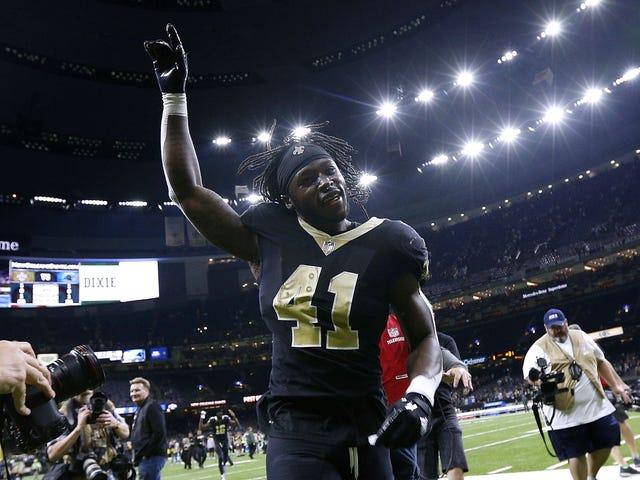 New Orleans Saints Running BackAlvin Kamara Wears Kaepernick Jersey and 'Make Africa Home Again' Hat