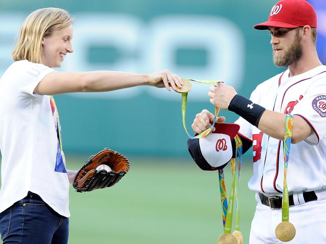 Katie Ledecky Turned Bryce Harper Into A Medal Rack