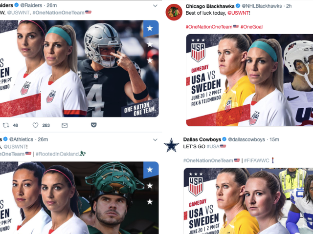 Men's Pro Teams Express Support For USWNT By Reminding Everyone That Guys Also Play Sports
