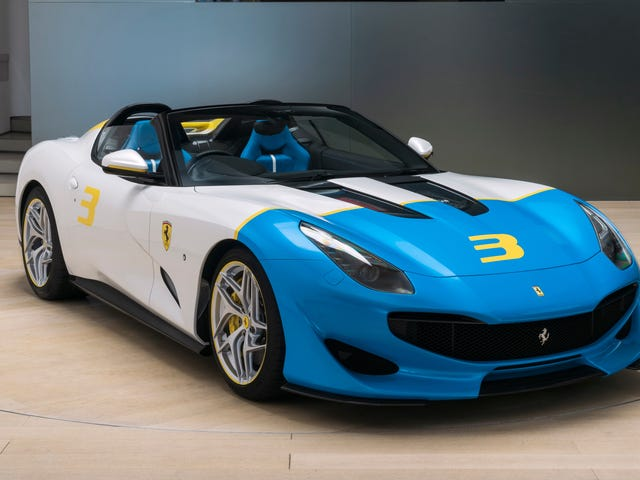 The Ferrari SP3JC One-Off Has an Adorable Big, Blue Face