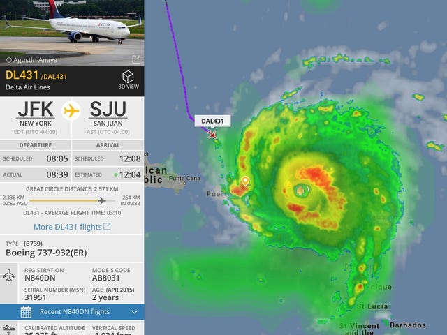 Were You On This Delta Plane That Flew Into Hurricane Irma? (Updated)