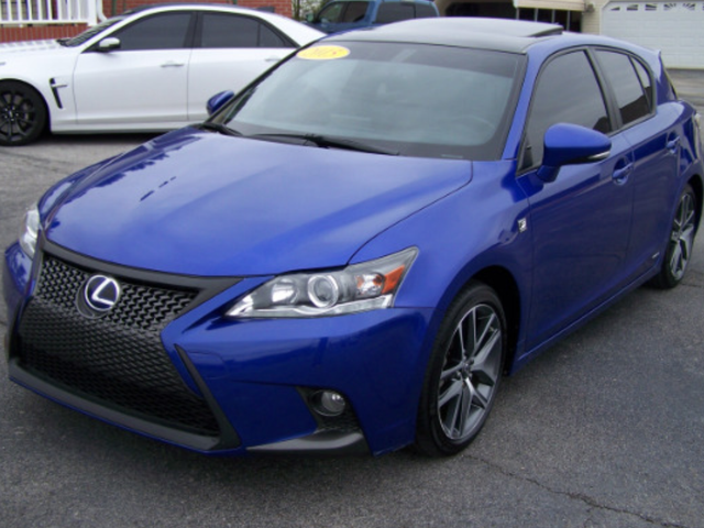 Here's a blue CT 200h F-Sport with blacked-out chrome