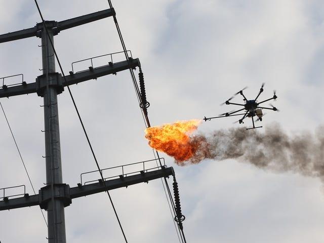 En Kina er en stor gruppe af drones med lanzallamas for eliminering af basale og elektriske kredsløb
