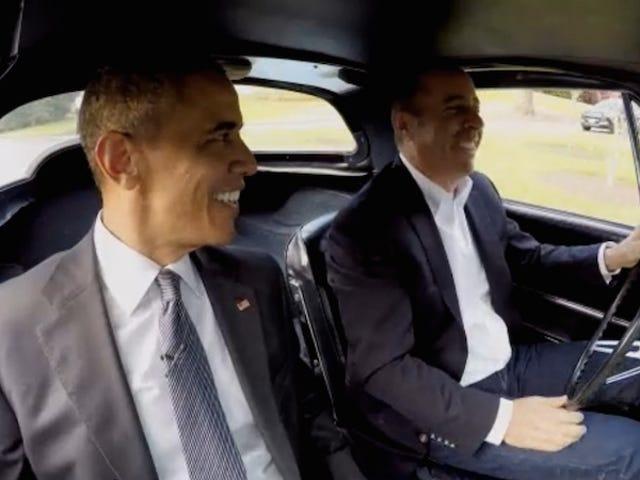 Ver a Barack Obama y Jerry Seinfeld tomar café en un auto caro