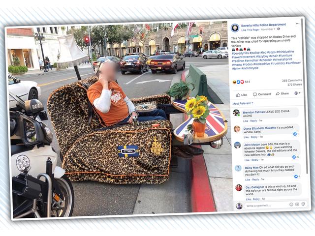 La policía de Beverly Hills mantiene las calles a salvo de los malhechores que conducen sofás