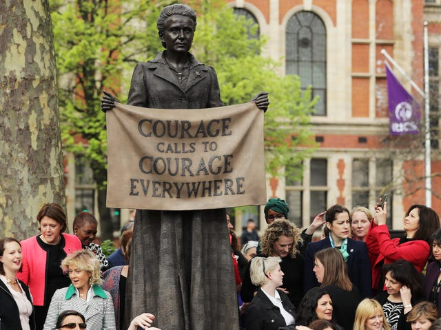 Suffragist Invades All-Male Domain of London's Parliament Square