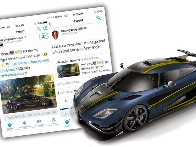 Koenigsegg Hilariously Calls Out Dipshit Pretending He Has A One:1
