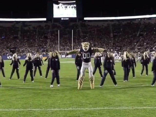 Paras asia BYU jalkapallosta on tämä mascot tanssin rutiini