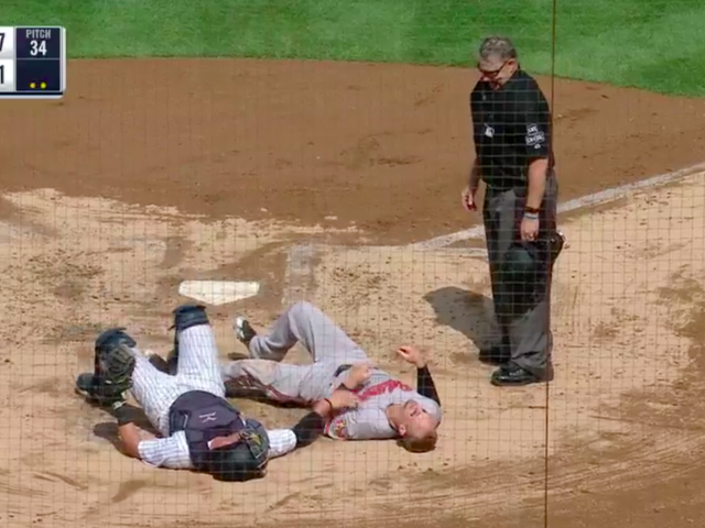 Whatever Caleb Joseph Was Doing On This Home-Plate Play, It Didn't Work