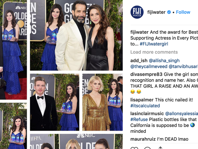 The Golden Globes Viral Fiji Water Girl Is Basically Spon Con