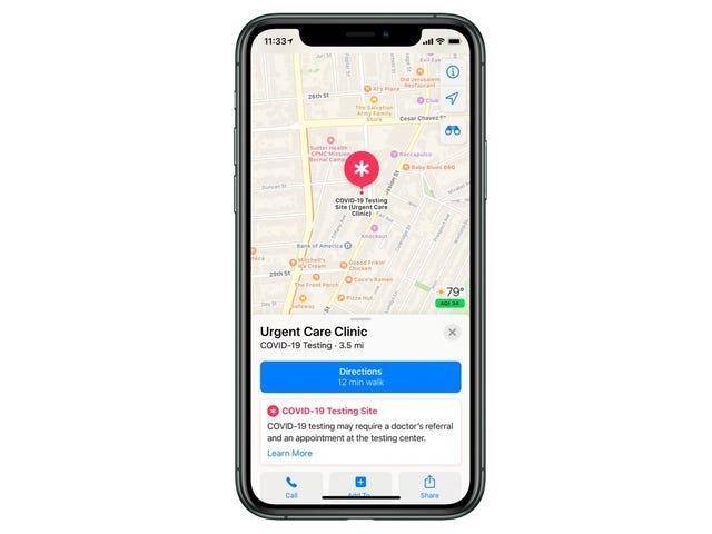 Apple Maps ti mostrerà presto quanti pochi centri di test del coronavirus ci sono negli Stati Uniti