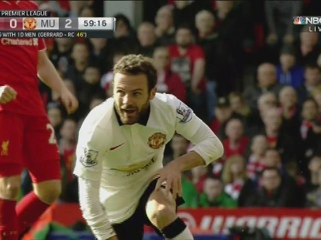 Indah Juan Mata Scissor Kick Put Man United 2-0 Up With Liverpool