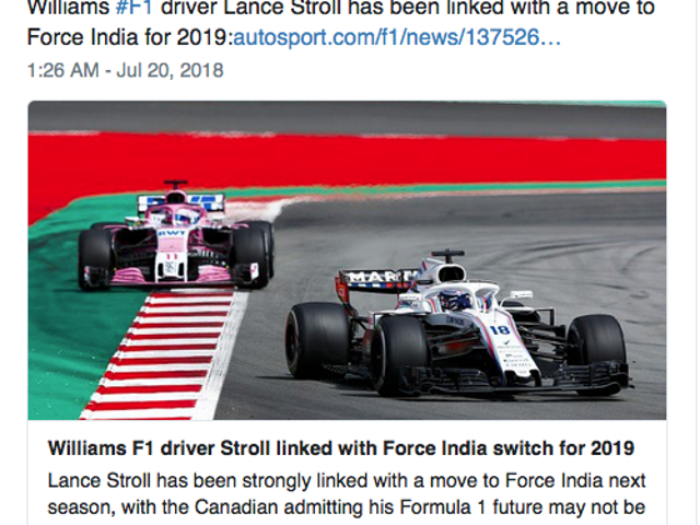 Lance Stroll to Force India?