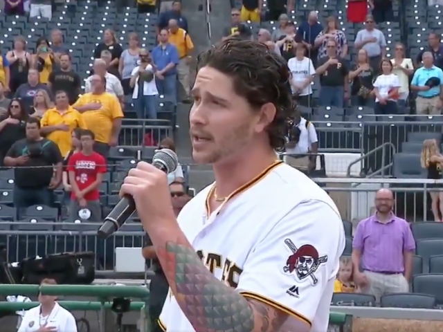 Pirates Relief Pitcher Sings The National Anthem Before Pirates Game