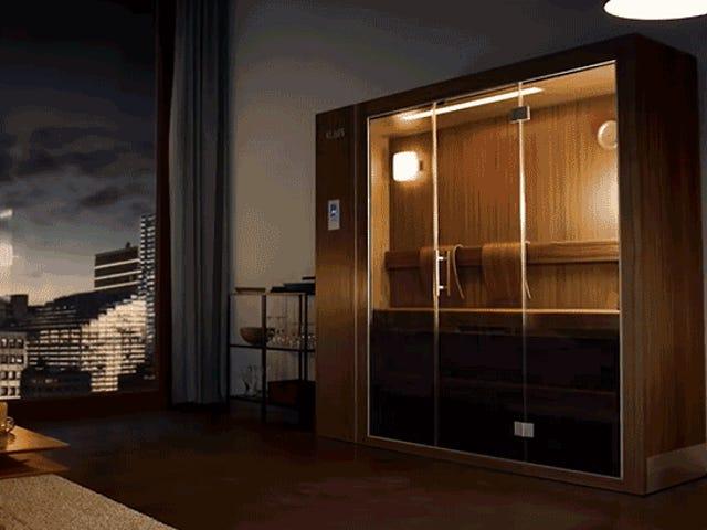 Jopa Tiny Apartments -huoneissa on tilaa tähän suljettavaan saunaan