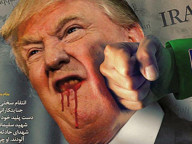 Hackers vernielen de website van de Amerikaanse regering met een pro-iran-boodschap en illustratie van Bloody Trump