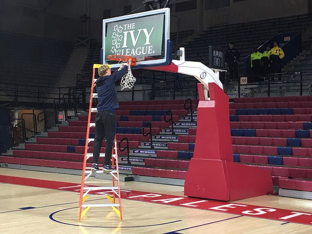 Penn Cut Down The Nets In An Empty Palestra At 2:15 Sunday Morning